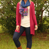 Wild At Heart Cardigan: Maroon