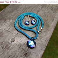 Classic Long Rope Jewelry Sets: Necklace, Earrings And Bracelet, Swarovski Pendant Bermuda Blue, Bead Crochet Necklace, Earrings Silver