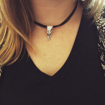 90s CHOKER | black choker necklace, 90s choker necklace, 90s jewelry, leather choker necklace, skinny choker necklace, bird skull