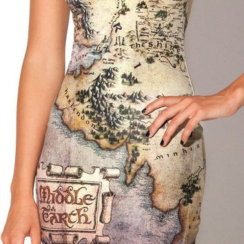 Hot Women's Fashion Hobbit Map Print Vest Mini dress One Size (Size: M, Color: White) = 1955586564