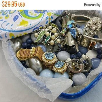 Century sale 30% jewels in a Tin Blues Clip earrings Necklaces Bracelets Ring and Brooches Brighton  Tin K