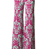 Fuchsia and Mint Damask Palazzo Pants