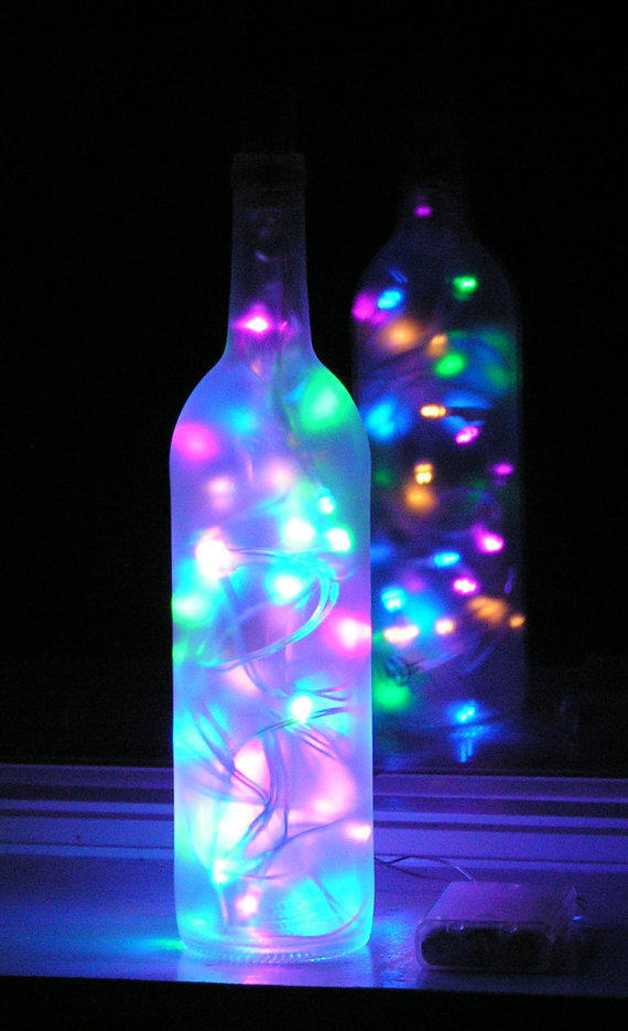 Frosted Wine Bottle Light With From Vtbrownjs On Etsy Epic
