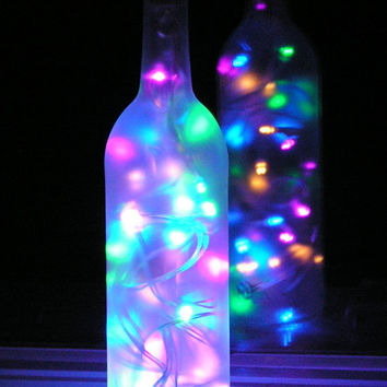 Frosted Wine Bottle Light with multi-colored pastel LED lights inside - battery operated