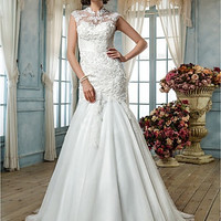 Trumpet/Mermaid High Neck Tulle Wedding Dress