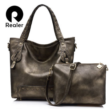 REALER brand women handbag 2 Pcs composite bag high quality female casual large tote bag+small shoulder messenger bag