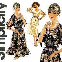 1970s Dress Pattern Simplicity 8586 Pullover Evening Dress Cocktail Party Scoop Neck Slit Kimono Sleeves Easy Womens Vintage Sewing Patterns