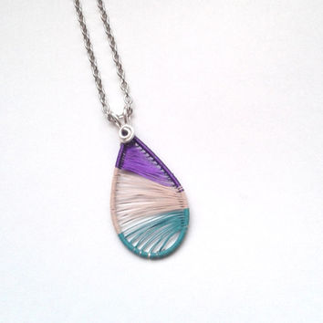 Wire Wrapped Purple/ Ivory/ Opaque Green Teardrop Shaped Pendant, Colourful Wire Wrapped Jewelry, Unique OOAK Summer Jewelry,