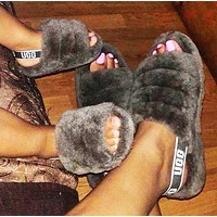 Hight Quality UGG Slippers Warm and fluffy Grey