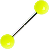 Yellow Neon Barbell Tongue Ring | Body Candy Body Jewelry