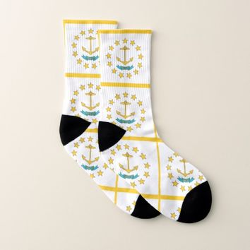 All Over Print Socks with Flag of Rhode Island