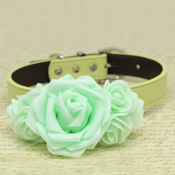 Mint Green Flowers dog collar, Pet wedding, Dogs birthday gift, Puppy Love