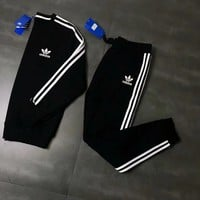 ADIDAS Woman Men Fashion Top Sweater Pullover Pants Trousers Set Two-Piece