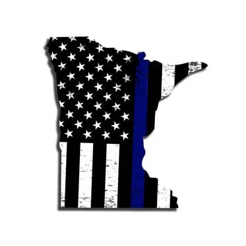 Minnesota Distressed Subdued US Flag Thin Blue Line/Thin Red Line/Thin Green Line Sticker. Support Police/Firefighters/Military