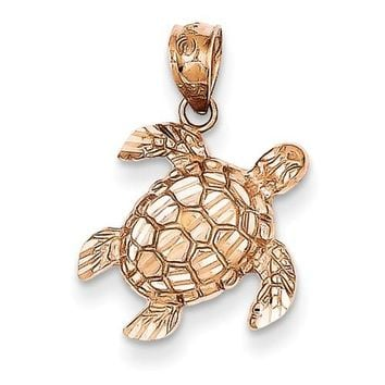 14k Rose Gold Solid Turtle Pendant