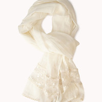 Embroidered Lace-Paneled Scarf