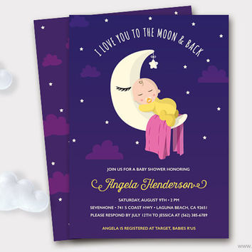 Printable Baby Shower Invitation, I love you to the Moon and Back Shower Invitations, Baby sleeping, Diaper Raffle Ticket, Thank You Card