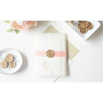 Blush and Gold Vellum and Wax Seal Wedding Invitation - DEPOSIT