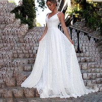 Womens Backless Long Formal Wedding White Ball Gown Party Prom Bridesmaid Dress