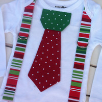 Baby boys CHRISTMAS TIE BODYSUIT with Suspenders-Boys Christmas Outfit -Red Polka Dot Tie with Red Green Stripe Suspenders-Boys 1st Birthday