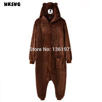 HKSNG Unisex New Flannel Teddy Coffee Brown Bear Pajamas Kigurumi Animal Best Gift Cosplay Costumes Onesuits Jumpsuit