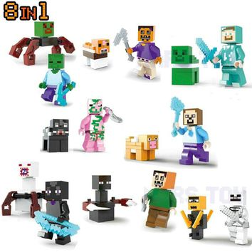 Minecrafted Action Figures Set Steve Zombie Alex Weapon Brick Lot  Compatible LegoINGlys Gift For Kids Friends My World