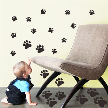 Dog Cat Paw Print Wall Stickers Decals Walking Paw Prints Wall Decal LK009 Home Art Decor Food Dish Room House Bowl Car Sticker SM6