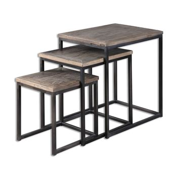Bomani Rustic Recycled Elm Wood Nesting Tables - Set of 3 by Uttermost