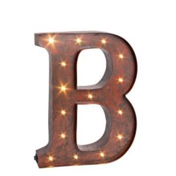 "12 in. H ""B"" Rustic Brown Metal LED Lighted Letter 92669B at The Home Depot - Mobile"