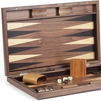 Gramercy Park Deluxe Wooden Walnut Backgammon Set 19 3/4""