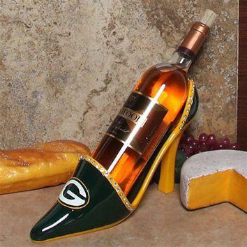 GREEN BAY PACKERS DECORATIVE HIGH HEEL SHOE WINE BOTTLE HOLDER NEW  SHIPPING