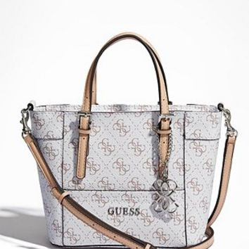 Delaney Textured Logo Mini Tote at Guess
