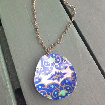 The Classic // Large Tin Pendant // Upcycled Vintage Jewelry