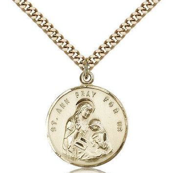 "Saint Ann Medal For Men - Gold Filled Necklace On 24"" Chain - 30 Day Money Ba... 617759802610"