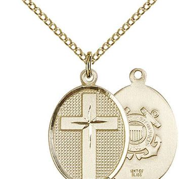 14K Gold Filled Cross Coast Guard Military Soldier Catholic Medal Necklace 617759993233