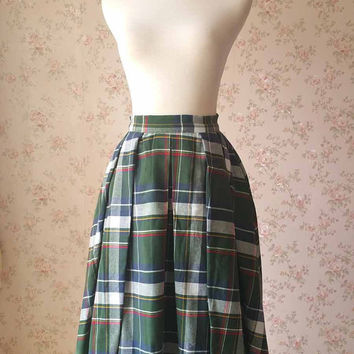 Green Maxi Skirt /Autumn Pleated Plaid Skirt /Green Checked Skirt /High Waist Skirts /Skirts with Pockets / Plaid Maxi Skirts Plus Size