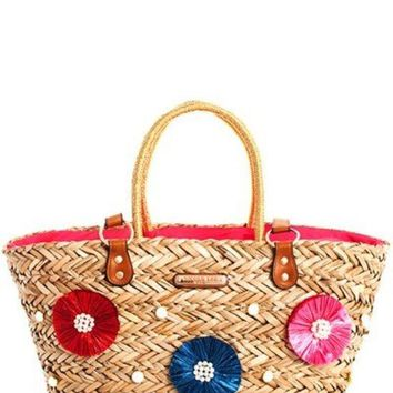 Nicole Lee Trendy Double Top Straps Straw Woven Shopper Bag