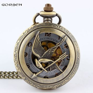 Russia the Hunger Game Retro Hollow Skeleton Pocket watch Bronze Bird Clock Necklace Pendant Gift For Men Women