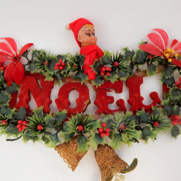 Christmas Wall Hanging Noel Elf Vintage 1950's Retro Flocked Plastic Kitsch Holiday Home Decor
