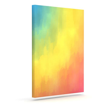 "Fotios Pavlopoulos ""Watercolor Layers"" Rainbow Outdoor Canvas Wall Art"