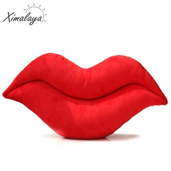 Ximalaya 2016 Hot Sexy Lips Pillow Decorative Pillows For Sofa Plush Material Cushions Seat Cushion BZZ001