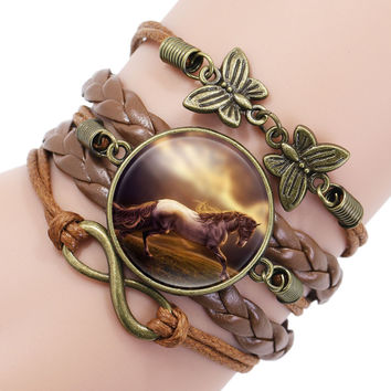 Vintage Horse Picture Bronze Leather Butterfly Charms Infinity Wrap Bracelets Bangles For Women Girls Braided Wristband Bracelet
