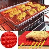 40x27cm Red Pyramid Bakeware Pan Nonstick BBQ Silicone Mat Cooking Baking Mats Microwave Oven Barbecue Tray Tools Kitchen Tools