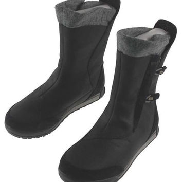 Teva Haley Boots Womens Black Gray Size 6 Leather Fleece Collar Bungee Lace NEW