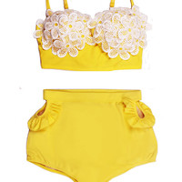 High waist waisted Bikini Swimsuit Bathing suit Swimwear : Yellow Daisy Lace Bikini Swimsuit Swim Bath Bathing suit Swimwear Swim wear S M L