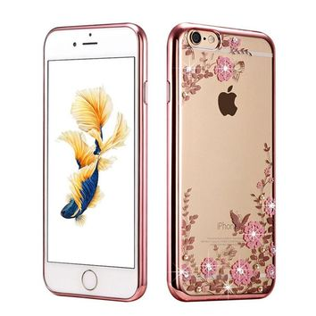 New Rhinestones Transparent Soft TPU Plating Case For iPhone 5s cases 6 5 6s 6 Plus for iPhone 7 Case plus Clear Cover