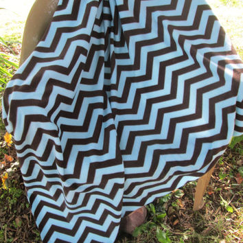 Chevron Fleece Lap or Toddler Bed Blanket - Lap Blanket, Stadium Blanket. Throw - Aqua, Chocolate