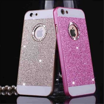New style Crystal Logo Window glitter powder hard Back Cover bling Sparkle phone case for iphone SE 5 5s PT1728