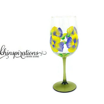 Hand Painted Wine Glasses, Painted Glassware, Custom Wine Glasses, Mother's Day Gift, Gift for Mom