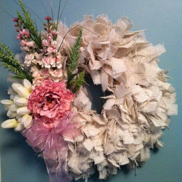 Shabby Chic Rag Wreath, Cottage Chic Rag Wreath, Burlap Rag Wreath, Wreath, Wedding Day Gift, Mothers Day